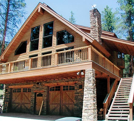 C 511chalet house plan from for Garage under house