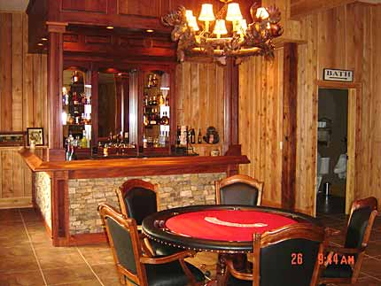 CreativeHousePlans.com Model P-801 bar and entertainment area picture.