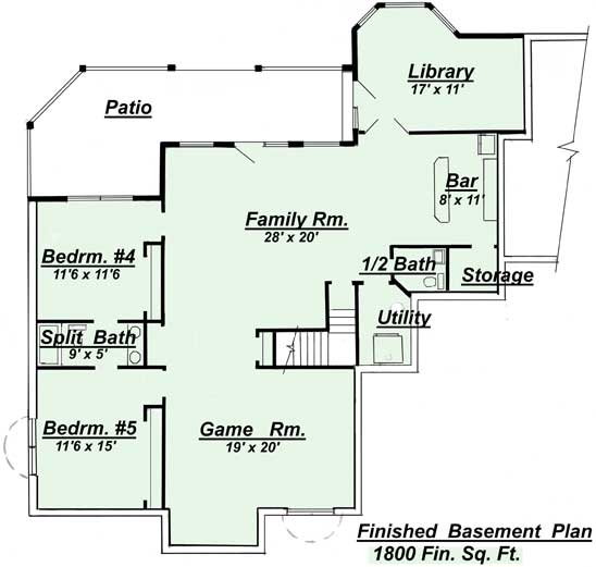 The R 401 Optional Finished Basement Floor Plan.