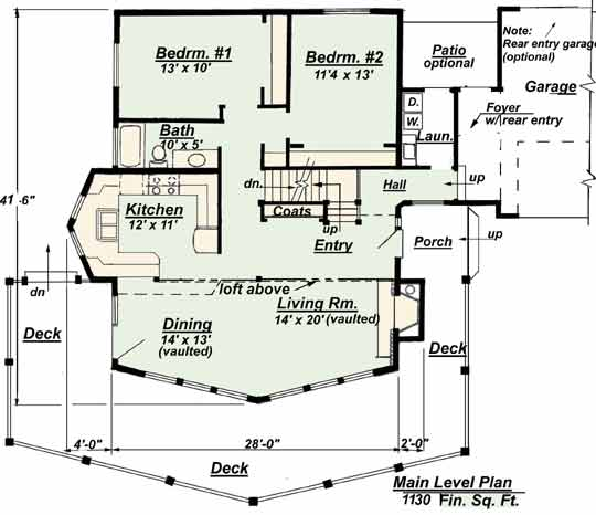 Lower Floor Plan Chalet Model C 510 from Creative House Plans
