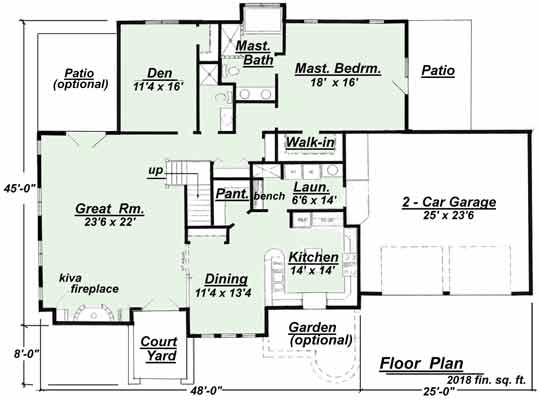 The master bedroom is located on the main floor of this version of the SW 901 house plan.